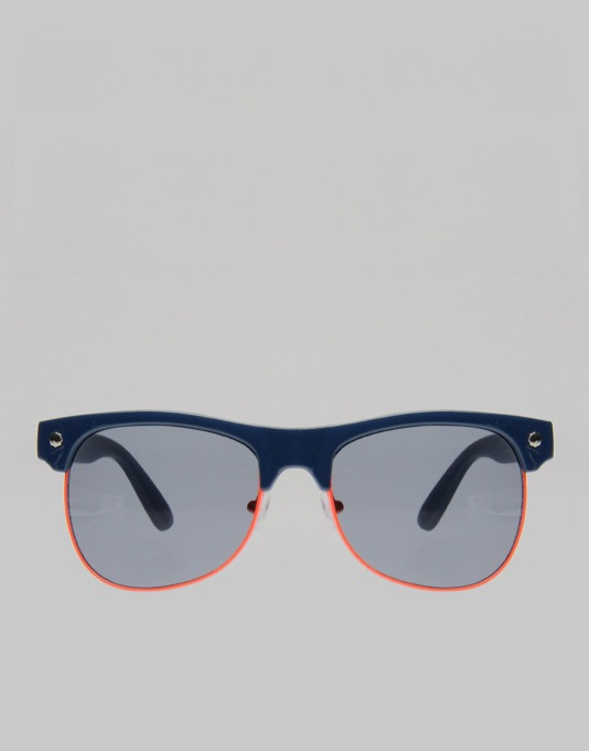 Glassy Sunhater Shredder Sunglasses -  Navy/Orange Trim
