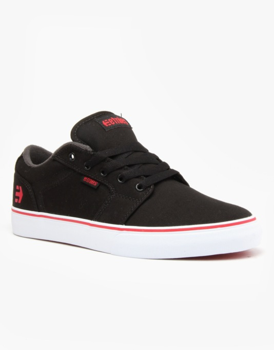 Etnies Barge LS Skate Shoes - Black/Dark Grey/Red