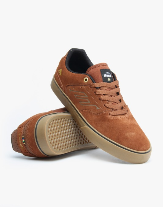 Emerica x Lakai Reynolds Vulc Skate Shoes - Brown/Gum