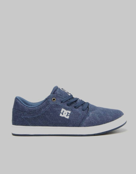 DC Crisis TX Boys Skate Shoes - Dark Denim/White
