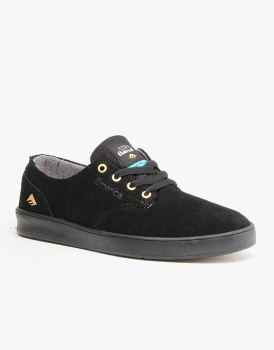 Emerica x Lakai Romero Laced Skate Shoes - Black/Black