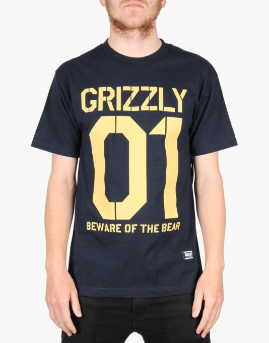 Grizzly Beware Stencil T-Shirt - Navy