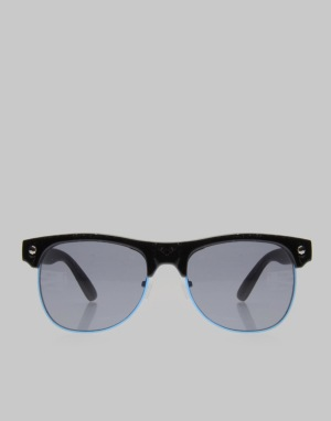 Glassy Sunhater Shredder Sunglasses -  Black/Blue Trim