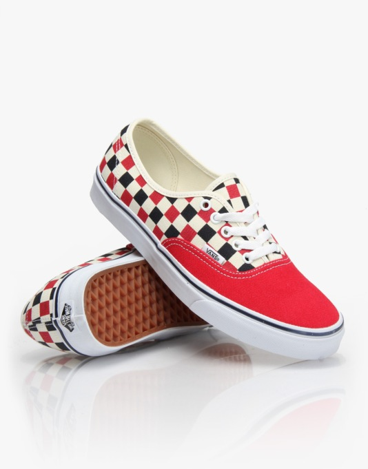 Vans Authentic Plimsolls - (Golden Coast) Red/Blue/Check