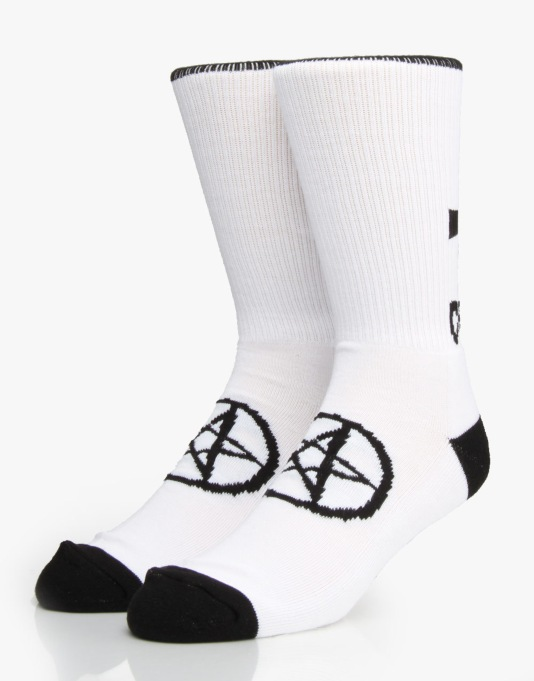 Creature Black & Green Metal Socks - White