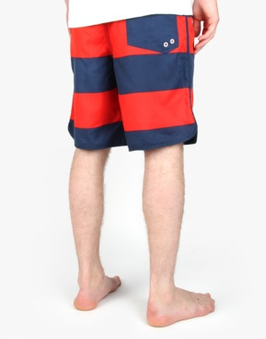 Route One Striped Boardshorts - Navy/Red