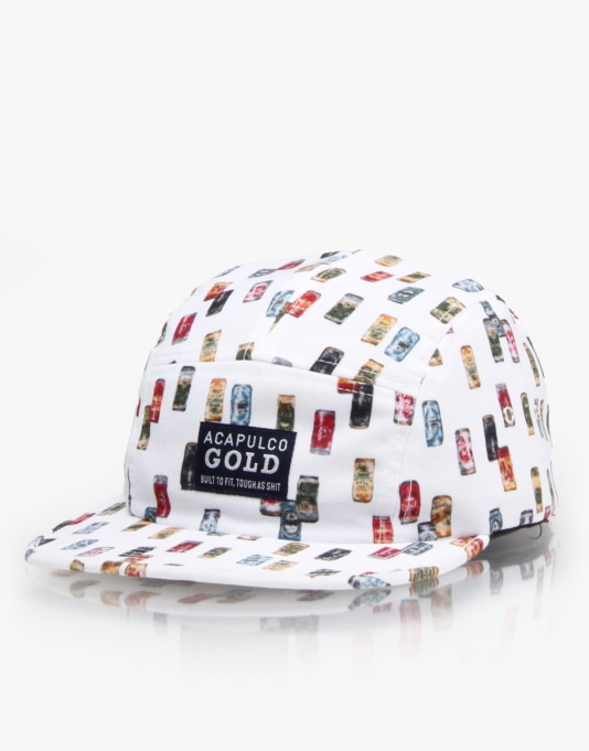 Acapulco Gold Beer Cans Camp 5 Panel Cap - White