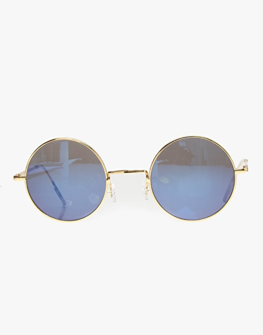 Route One Basics Round Sunglasses - Gold (Blue Lens)