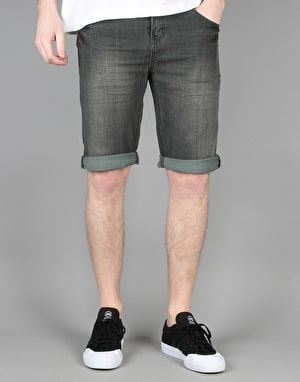 Route One Slim Denim Roll Up Shorts - Black