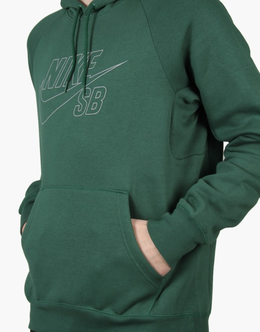 Nike SB Icon Reflective Pullover Hoodie - Gorge Green/Reflective Silv