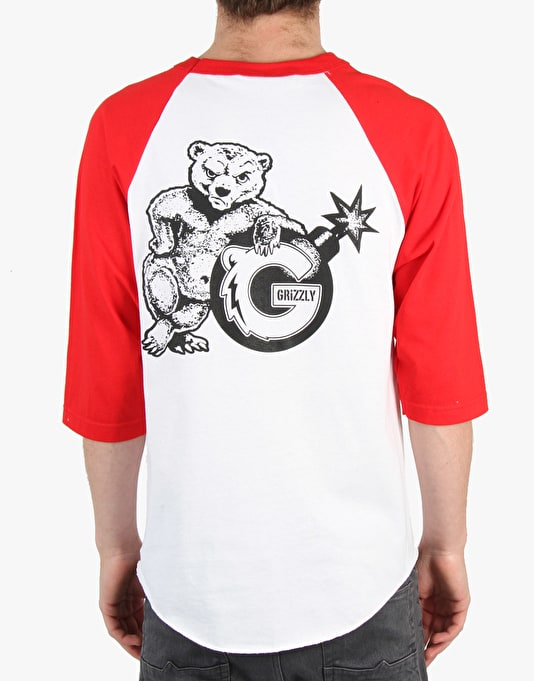 The Hundreds x Grizzly Over Due Raglan - Red/White