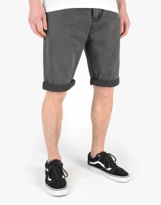 Route One Slim Denim Roll Up Shorts - Soft Black