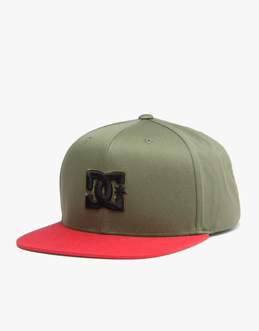DC Snappy Snapback Cap - Olive/Red