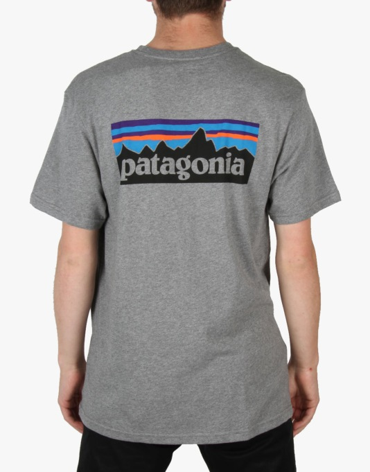 Patagonia P6 Logo T-Shirt - Gravel Heather