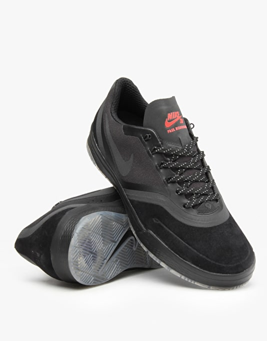 Nike SB Paul Rodriguez 9 Elite Flash Skate Shoes - Black/Black-Crimson