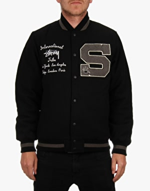 Stüssy Big S Letterman Jacket - Black
