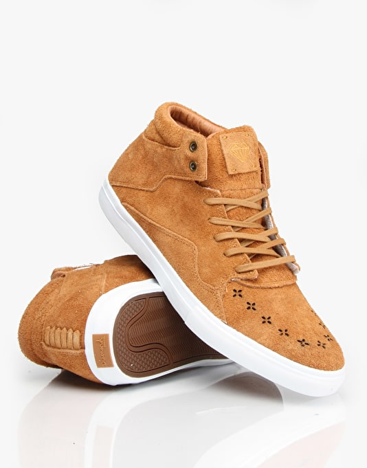 Diamond Supply Co. Folk Mid Skate Shoes - Light Brown Suede