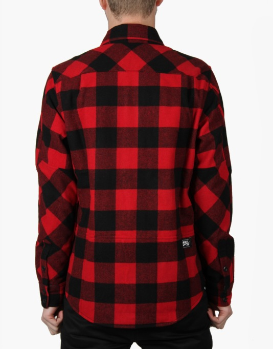 Nike SB Buffalo Plaid L/S Shirt - Gym Red