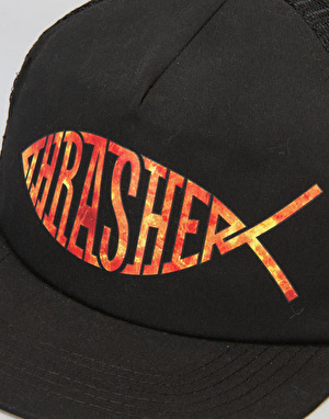 Thrasher Fish Mesh Cap - Black