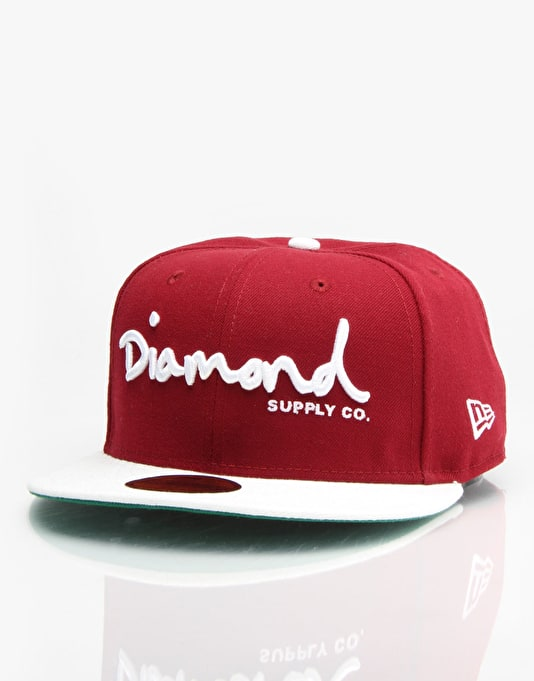 Diamond Supply Co. OG Script Fiited Cap - Burgundy/Grey