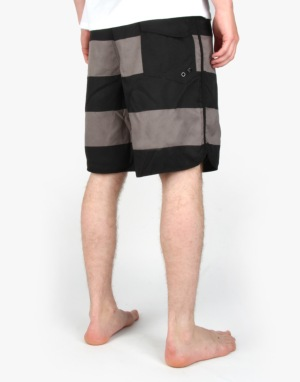 Route One Striped Boardshorts - Black/Charcoal