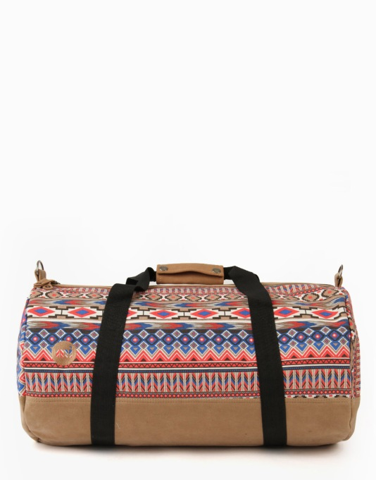 Mi-Pac Aztec Duffel Bag - Tan/Red/Blue
