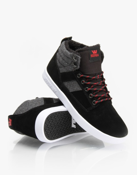 Supra Bandit Skate Shoes - Black/Grey - White