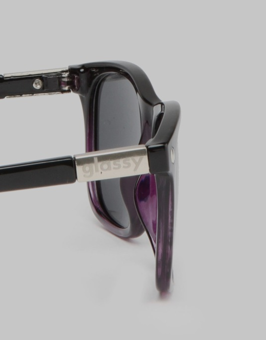 Glassy Sunhater Biebel Sunglasses - Black/Clear Purple