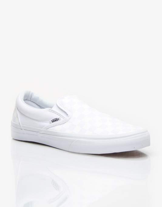 Vans Classic Slip On Skate Shoes - White/White/Checker White