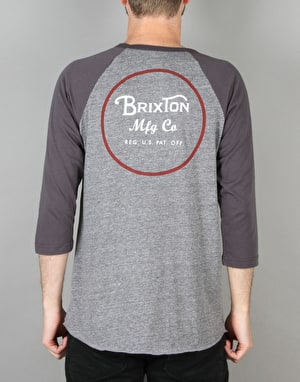 Brixton Wheeler 3/4 Raglan T-Shirt - Heather Grey/Blue