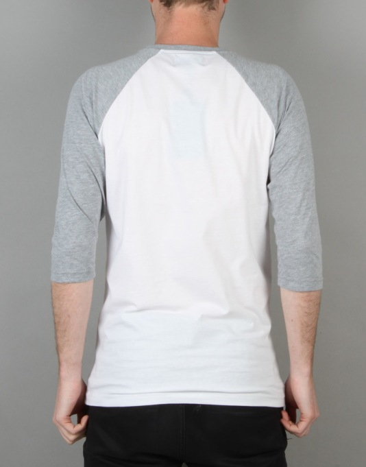 Route One Logo Raglan T-Shirt - White/Heather Grey