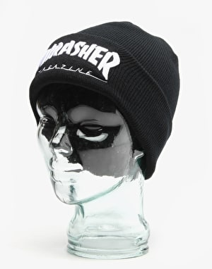 Thrasher Embroidered Logo Beanie - Black/White