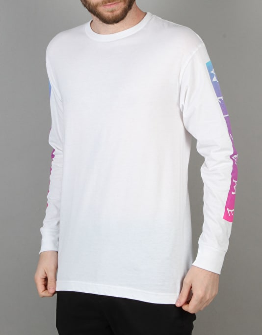 Welcome Scrawl Bar L/S T-Shirt - White/Pink/Blue