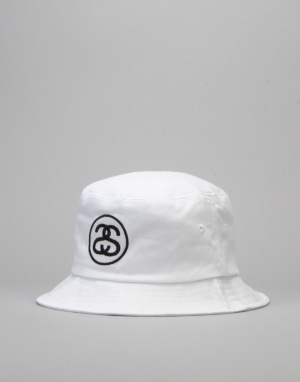Stüssy SS Link Bucket Hat - White