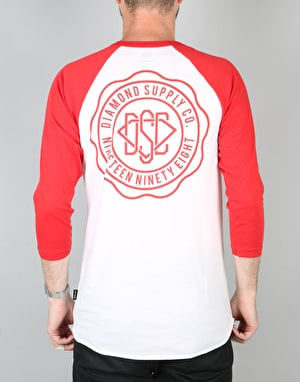 Diamond Supply Co. DSC Seal Raglan  T-Shirt - White/Red