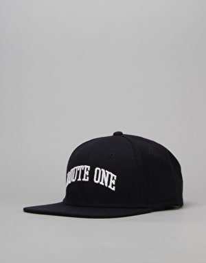 Route One College Snapback Cap - Navy