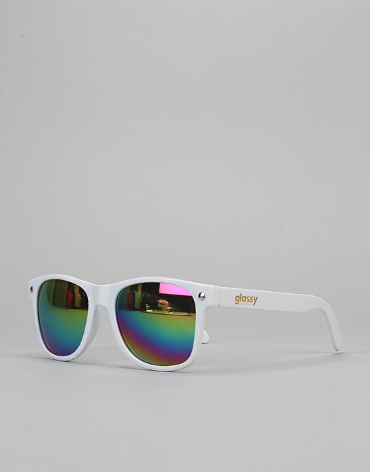 Glassy Sunhater Leonard Sunglasses - White/Colour Mirror