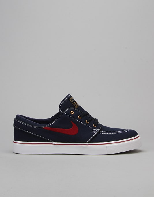 Nike SB Zoom SB Stefan Janoski Canvas Skate Shoes - Obsidan/Red/Gold