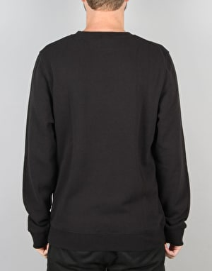 Stüssy Basic Logo Applique Crew Sweatshirt - Black