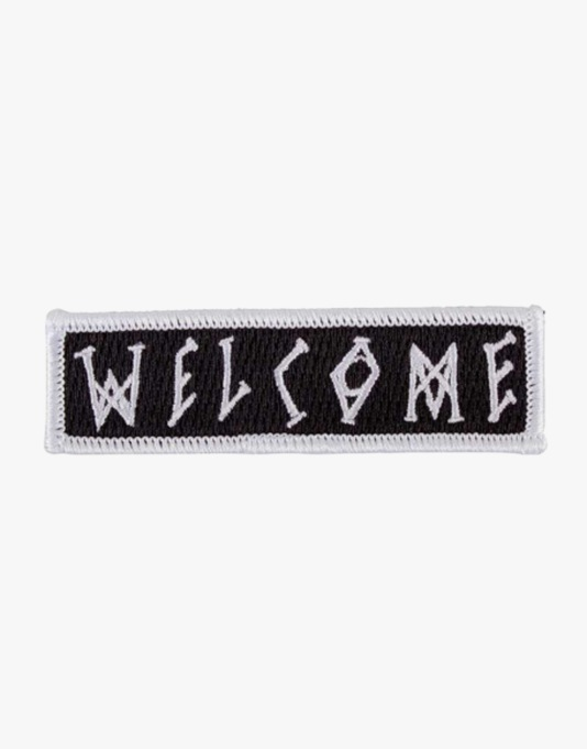 "Welcome Scrawl 3"" Embroidered Patch - White/Black"