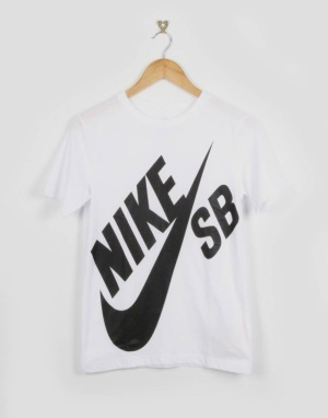 Nike SB Big Logo Boys T-Shirt - White/Black