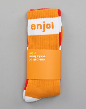 Enjoi Mixed Panda Feet Socks - Orange/Red