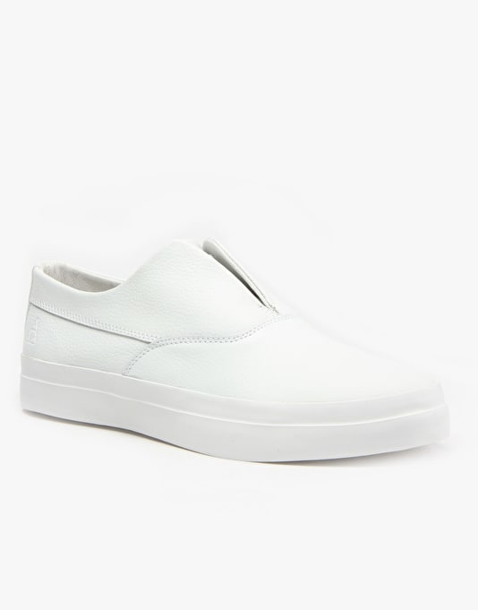 HUF Dylan Slip On Skate Shoes - White Leather
