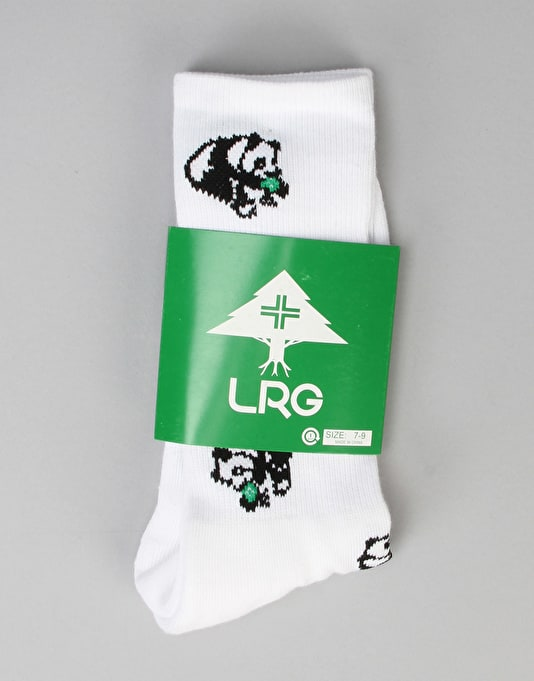 LRG Happy Panda Crew Socks - White