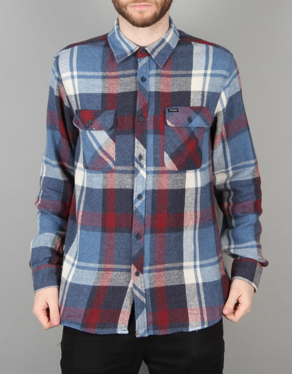 ad20ea2a Brixton Bowsey Flannel L/S Shirt - Blue/Burgundy | Long Sleeve Skate Shirts  | Mens Skateboard Clothing | Route One