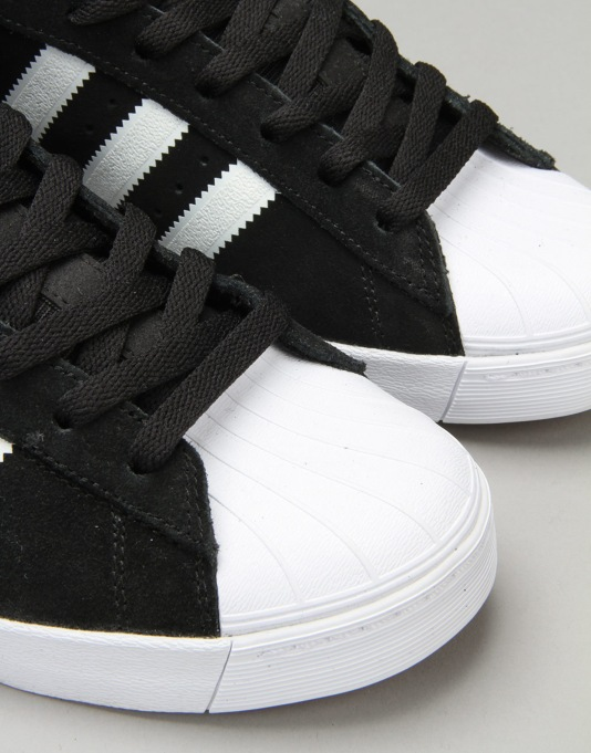 Adidas Superstar Vulc Skate Shoes - Core Black/FTWR White/Gold Met.