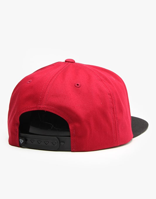 Diamond Brilliant Snapback Cap - Burgundy/ Black