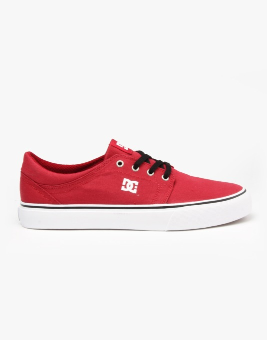 DC Trase TX Skate Shoes - Dark Red