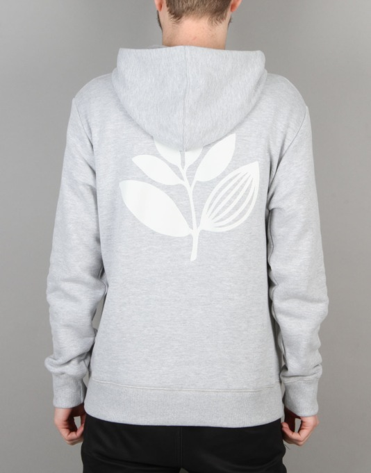 Magenta Plant Pullover Hoodie - Light Heather Grey