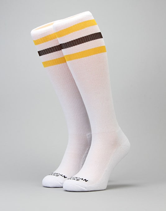 American Socks California Knee High Socks - White/Gold/Brown